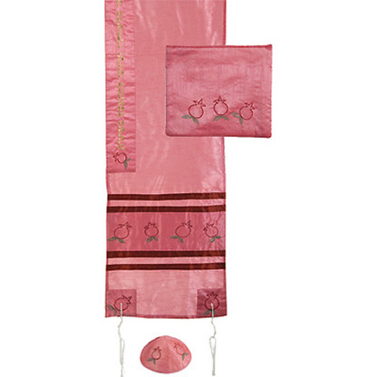 Pink Tallit with Bag and Kippah