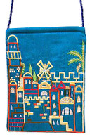 Bag with Embroidered Jerusalem Scene