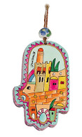 Hand Painted Hamsa withTower of David