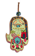 Hand Painted Hamsa with Evil Eye Motif