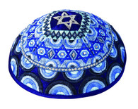 Rainbow Blue Embroidered Kippah