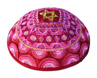 Red and Pink Embroidered Kippah