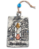 Jerusalem Wall Hanging with 3 Hamsa Hands