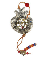 Pomegranate Wall Hanging with Blessings and Charms