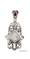 Silver and Roman Glass Hamsa Pendant