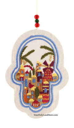 Embroidered Wall Hanging Jerusalem Hamsa