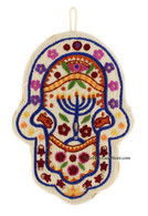 Wall Hanging Hamsa with Menorah