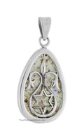 Roman Glass Teardrop Pendant with Star of David