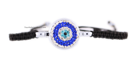 Black Macrame Bracelet with Blue Evil Eye