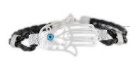 Black Bracelet with Hamsa and Evil Eye