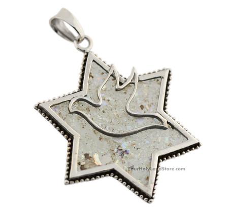 Silver and Roman Glass Star of David Dove Pendant