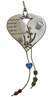 Heart Shaped Wall Hanging with Doves and Blessing in Hebrew
