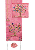 Raw Silk Pink Tallit with Tree of Life