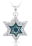 Enameled Star of David Pendant with CZ Diamonds