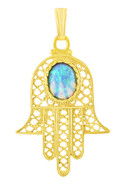 Gold Filled Hamsa Pendant with Blue Opal