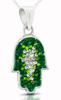 Sterling Silver Hamsa Pendant with Gren and White Crystals