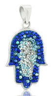 Sterling Silver Hamsa Pendant with Blue and White Crystals