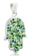 Silver Hamsa Pendant with Sparkling Crystals