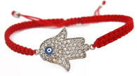 Red String Macrame Bracelet with Hamsa