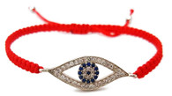 Kabbalah Red String Macrame Bracelet with Evil Eye Charm