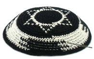 Black and White Knitted Kippah with Star of David