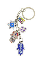 Key Chain with Hamsa, Star of David, Chai and Hoshen