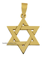 14K Yellow Gold Traditional Star of David Pendant