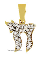 14K Yellow Gold Chai Pendant with CZ Crystals