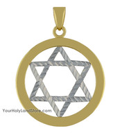 10K Yellow and White Gold Star of David