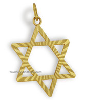 10K Yellow Gold Star of Magen David Pendant