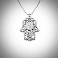Personalized Initial Silver Hamsa Necklace
