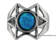 Star of David Ring with Opal