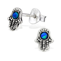 Hamsa Stud Earrings in Silver and Opal