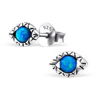 Silver & Blue Opal Evil Eye Stud Earrings