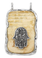 Jerusalem Stone Pendant with Hamsa