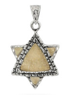 Jerusalem Stone and Silver Star of David Pendant