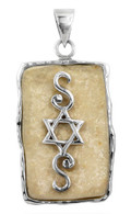 Jerusalem Stone & Silver Pendant with Star of David