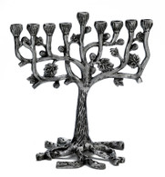 ANTIQUE ALUMINUM TREE OF LIFE MENORAH