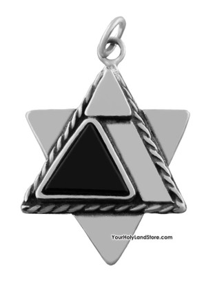 Star of David Pendant with Blessing and Onyx Stone
