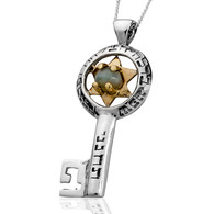 Kabbalah Key Necklace with Chrysoberyl for Prosperity