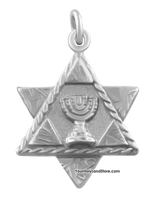 Star of David Pendant with Menorah