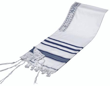 Prayer Shawl with Blue Stripes