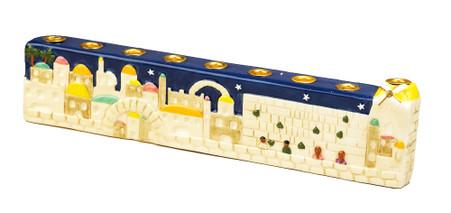 Jerusalem Hand Painted Ceramic Menorah