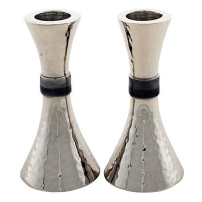 Hammered Aluminum Shabbat Candlesticks