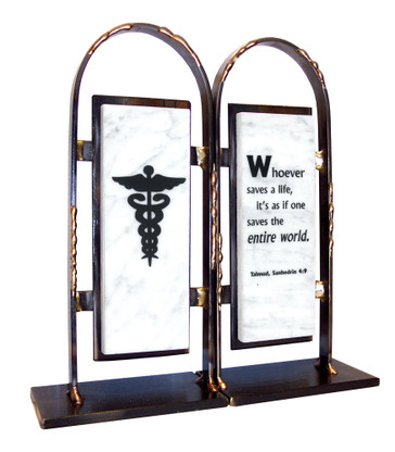 Tablet Bookends with a Medical Caduceus