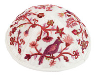 Kippah with Embroidered Birds & Flowers