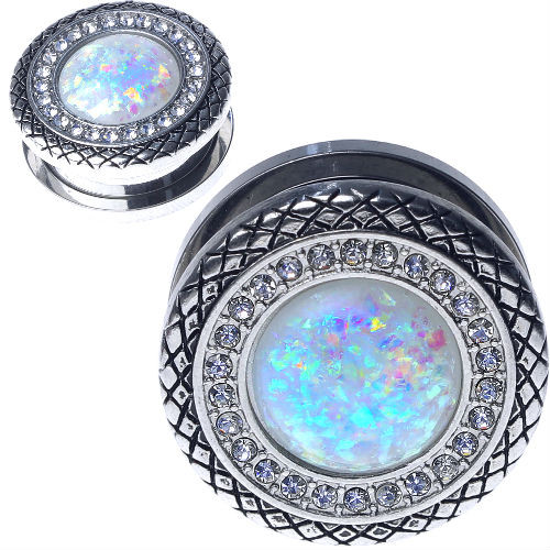 Stainless Steel Button With Synthetic White Opal center and CZ Gems Screw Back Ear Gauges