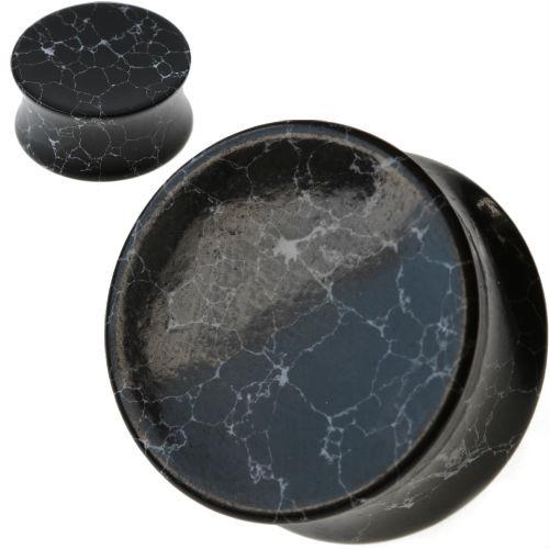 Concave Black Howlite Stone Ear plugs