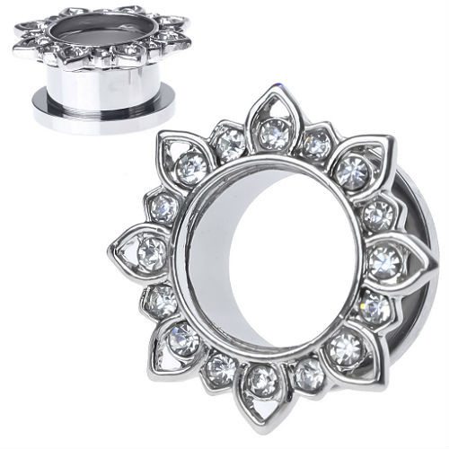 Silver Lotus with CZ Gems Stainless Steel Screw Back  Ear Gauges (Pair)