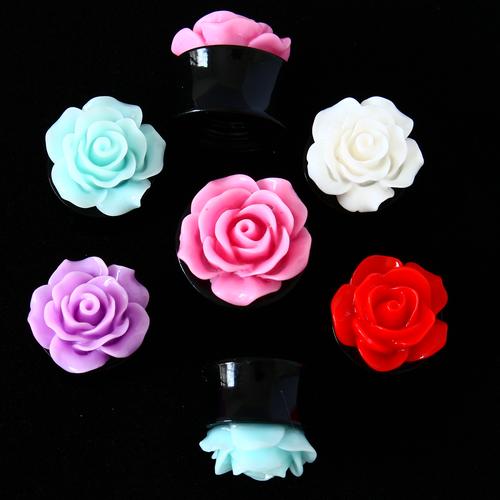 acrylic rose ear gauges
